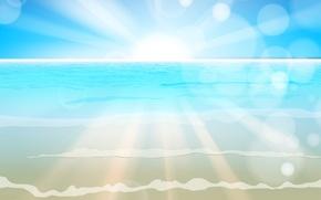 Picture sea, wave, waves, sea, the sun's rays, sun
