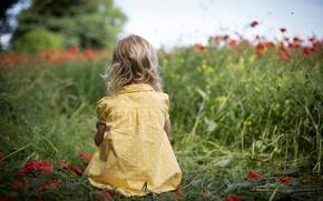 Picture greens, field, grass, flowers, nature, children, background, widescreen, Wallpaper, mood, child, polka dot, dress, girl, ...