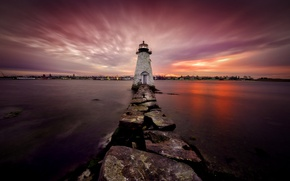 Picture night, lighthouse, United States, Massachusetts, New Bedford