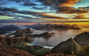 Picture Islands, sunset, the evening, Norway, panorama, Lofoten