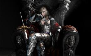 Wallpaper the throne, girl, sword, reverie, art, armor, Queen