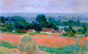 Picture France, stack, hay, painting, art, impressionism, france, art, place, paintings, Giverny, impressionism, haystack at giverny, …