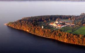 Picture sea, autumn, trees, shore, panorama, the monastery, Lithuania, the Peninsula, The Baltic States