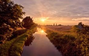 Wallpaper summer, the sky, the sun, reflection, river, Bank