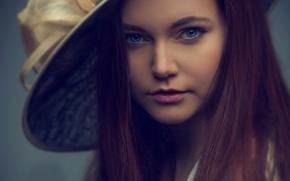 Picture girl, retro, hat, portrait photo