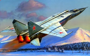 Wallpaper the plane, figure, Zhirnov, the MiG-25P, THE SOVIET AIR FORCE, supersonic high-altitude fighter-interceptor, Mikoyan-Gurevich