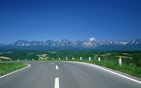 Picture mountains, hills, Road