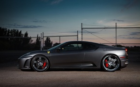 Picture the sky, clouds, the evening, silver, the fence, profile, ferrari, Ferrari, drives, f430, silvery