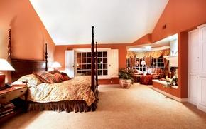 Picture night, Villa, bed, pillow, luxury, Design, bedroom, lamps, Interior, Bedroom