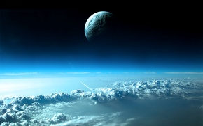 Wallpaper the sky, space, clouds, planet, rocket