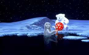 Wallpaper holiday, snow, Coca-Cola, seal, Polar, polar bear, water, New Year, seal, stars, red, the ball, ...