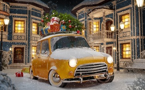 Picture winter, auto, snow, snowflakes, yellow, abstraction, retro, background, lights, toys, tree, art, gifts, Parking, Parking, …
