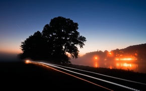 Picture road, night, photoshop