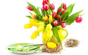 Picture eggs, spring, yellow, plate, Easter, tulips, pink, Easter
