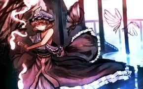 Picture girl, butterfly, smile, weapons, mood, katana, touhou, art, saigyouji yuyuko, mfua. RU