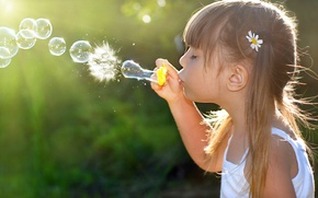 Wallpaper girl, childhood, children, bubbles, child, children, childhood, joy, child, bubbles, little girl, joy, happiness, happiness