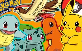 Picture Pikachu, pokemon, pokemon, Pikachu, bulbasaur, squirtle, squirtle, charmander, charmander, bulbasaur
