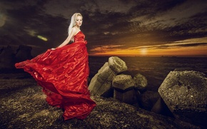 Picture sea, girl, sunset, style, stones, dress, Asian, red dress