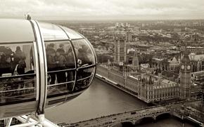 Picture bridge, people, houses, London, black and white, London Eye, Big Ben, buildings, United Kingdom, clock, …