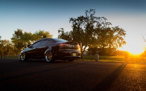 Picture road, the sky, the sun, trees, sunset, shadow, wheel, Mitsubishi, Lancer, tail lights