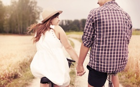 Picture widescreen, guy, sport, bikes, HD wallpapers, Wallpaper, lovers, leaves, male, girl, full screen, love, positive, ...