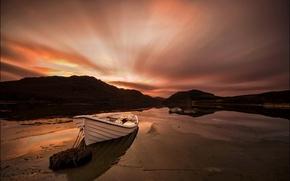 Picture landscape, lake, boat