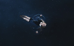 Picture the sky, water, girl, stars, night