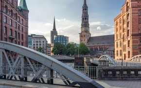 Picture the sky, bridge, watch, tower, home, Germany, Church, channel, Hamburg