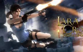 Picture girl, jump, guns, lara croft, tomb raider, Lara Croft and the Temple of Osiris, temple …