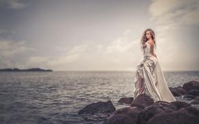 Wallpaper sea, girl, stones, dress, horizon