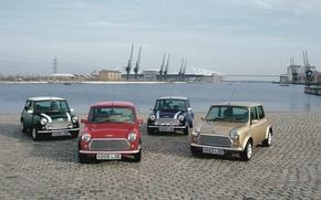 Wallpaper Mini Cooper, Water, Pavers, Pier, Day, MINI, Mini Cooper, Four