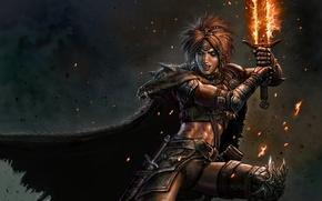 Picture fire, barbarian, woman, sword, fur, warrior, magic, cloak