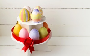 Wallpaper eggs, Easter, bow, colorful, eggs, bow, easter holidays