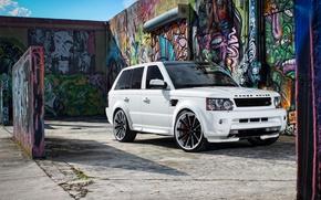 Picture white, graffiti, Land rover