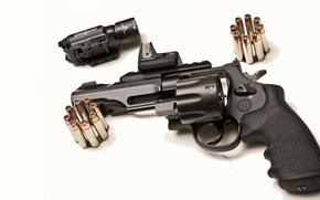 Picture cartridges, revolver, Smith & Wesson, TRR8, drum, Model 327, white background, optics, sight, gun
