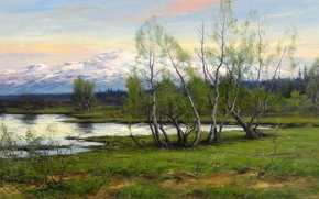 Picture nature, picture, Mountains and birch at the reservoir, Johan Tieran