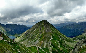 Picture clouds, mountains, stones, Alps, panorama, lake, tourists, Slovakia, Tatras