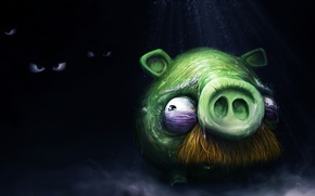 Wallpaper pig, darkness, fear, angry birds, angry birds