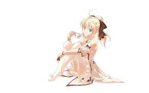 Picture look, girl, stockings, blonde, white background, fate stay night, saber lily, sitting