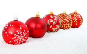 Picture snow, balls, patterns, toys, New Year, Christmas, red, Christmas, gold, New Year, silver, Christmas, Christmas