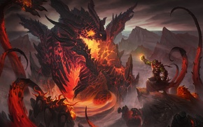 Picture dragon, lava, fascinator, caster, Orc sorcerer