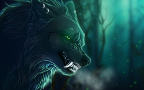 Picture look, branches, background, animal, wolf, art, mouth, fangs