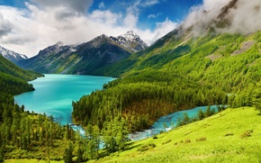 Picture water, trees, mountains, nature, lake, river, hills, landscapes, view, bridges, bridges, crossing, river, places, lake, …