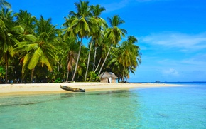 Picture sea, beach, tropics, palm trees, boat, house
