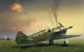 Picture war, fighter, art, the plane, the airfield, damage, Soviet, single-engine, return, field, after the fight, …