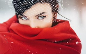 Picture winter, girl, brunette, red, veil, Cape