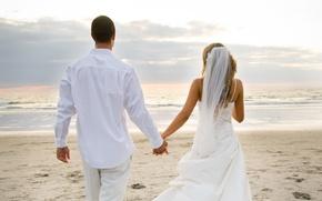 Wallpaper beach, love, the ocean, love, the bride, veil, wedding, the couple