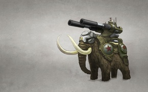 Picture weapons, people, elephant, gun, white background, mammoth, tusks, Command & Conquer, Red Alert