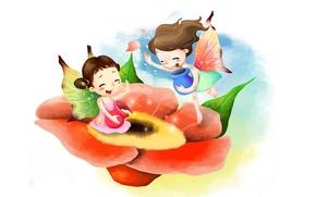 Picture flower, pollen, girls, figure, laughter, honey, fairies