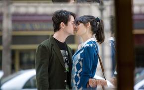 Picture street, kiss, 500 days of summer, Joseph Gordon-Levitt, Zooey Deschanel, (500) Days of Summer